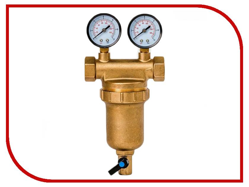 Фильтр для воды Гейзер Бастион 7508145201 3/4 для горячей воды с двумя манометрами d76 32685