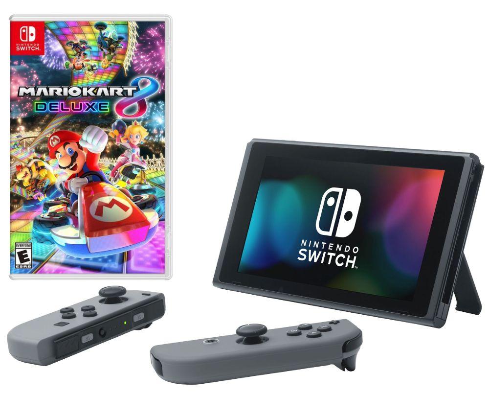 Игровая приставка Nintendo Switch Gray + Mario Kart 8 Deluxe цена и фото