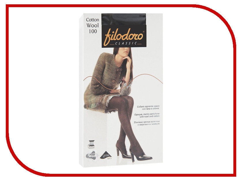 Колготки Filodoro Cotton Wool размер 3 плотность 100 Den Nero колготки filodoro regina размер 3 плотность 100 den nero