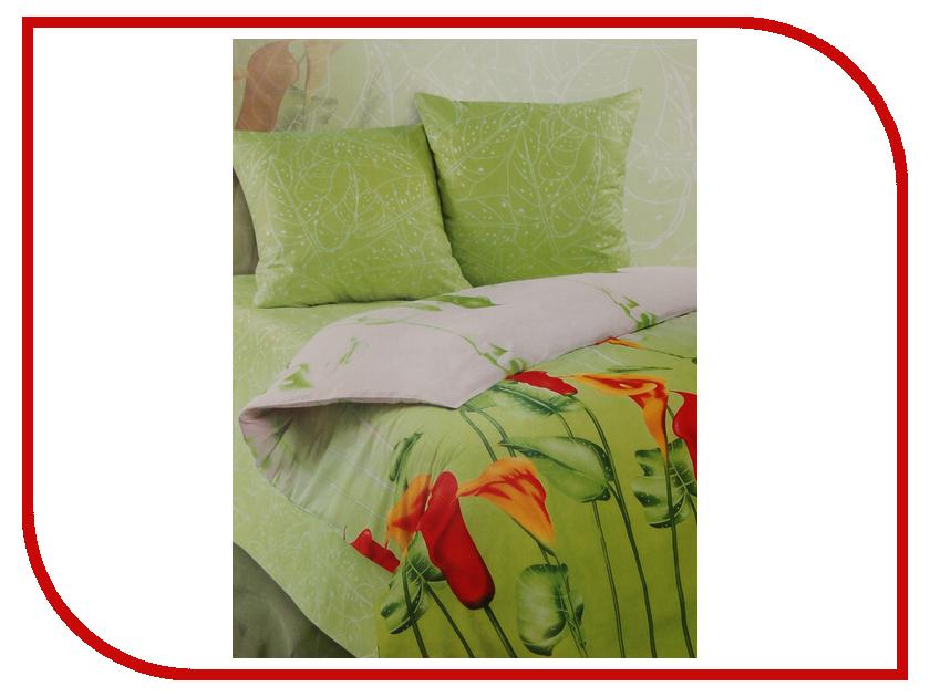 Постельное белье Экзотика Каллы Комплект Евро Поплин постельное белье экзотика адель комплект 1 5 спальный поплин
