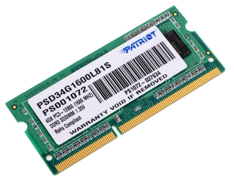 купить Модуль памяти Patriot Memory DDR3 SO-DIMM 1600Mhz PC3-12800 CL11 - 4Gb PSD34G1600L81S онлайн