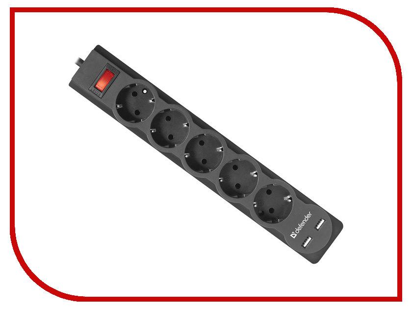 Сетевой фильтр Defender DFS 755 2xUSB 5 Sockets 5.0m 99755 цена и фото