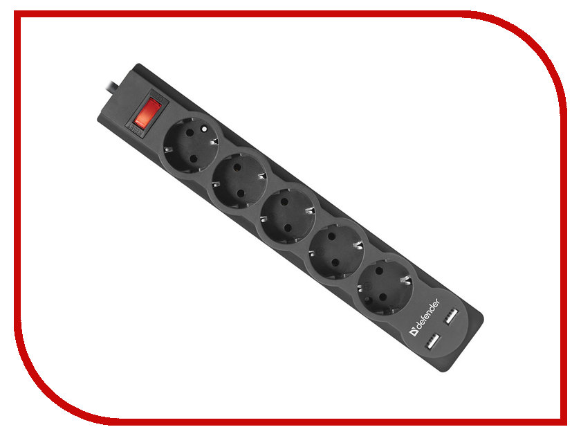 Сетевой фильтр Defender DFS 751 2xUSB 5 Sockets 1.8m 99751 defender dfs 603
