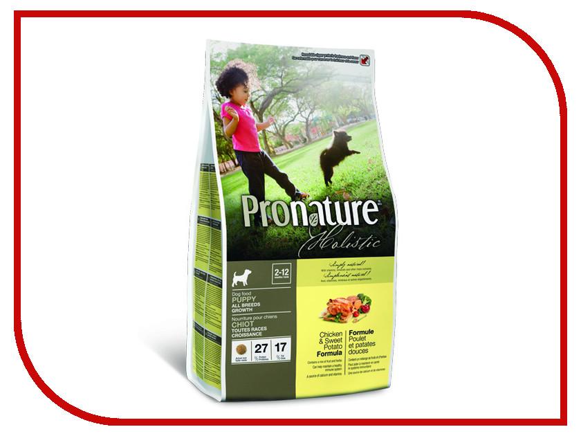Корм Pronature Holistic курица со сладким картофелем 2.72kg для щенков 102.2011 сухой корм pronature holistic adult cat skin
