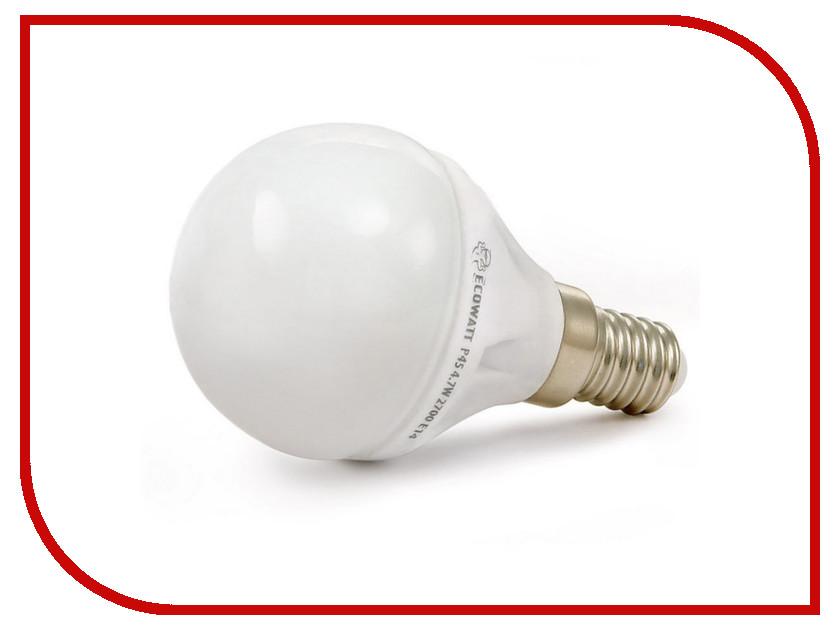 Лампочка ECOWATT Шарик P45 E14 4.2W 2700K CL 300 Warm White лампочка ecowatt груша нитевидная a60 e27 fl 8w 230v 2700k warm white