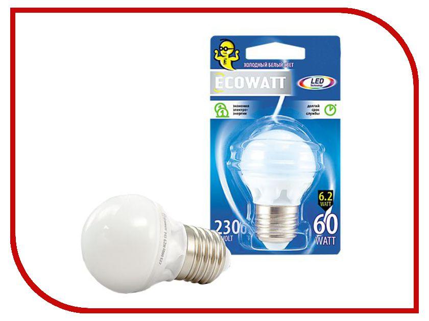 ECOWATT - Лампочка ECOWATT Шарик P45 E27 230V аналог 60W 4000K Cold White