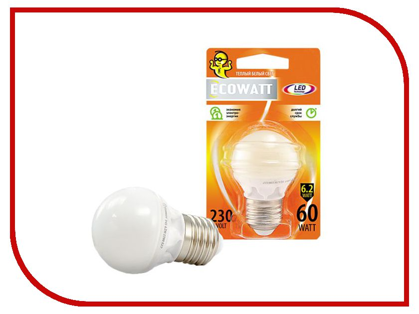 Лампочка ECOWATT Шарик P45 E27 230V аналог 60W 2700K Warm White лампочка ecowatt груша нитевидная a60 e27 fl 8w 230v 2700k warm white