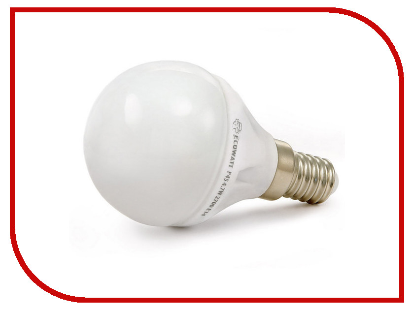 Лампочка ECOWATT Шарик P45 E14 5.3W 230V 2700K Warm White лампочка ecowatt груша нитевидная a60 e27 fl 8w 230v 2700k warm white