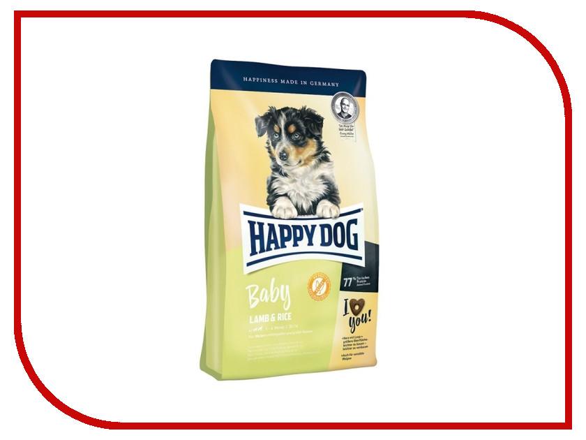 Корм Happy Dog Baby Ягненок/Рис - 4kg 60392 для щенков корм happy dog vet diet struvit курица ягненок морепродукты 12 5kg для собак