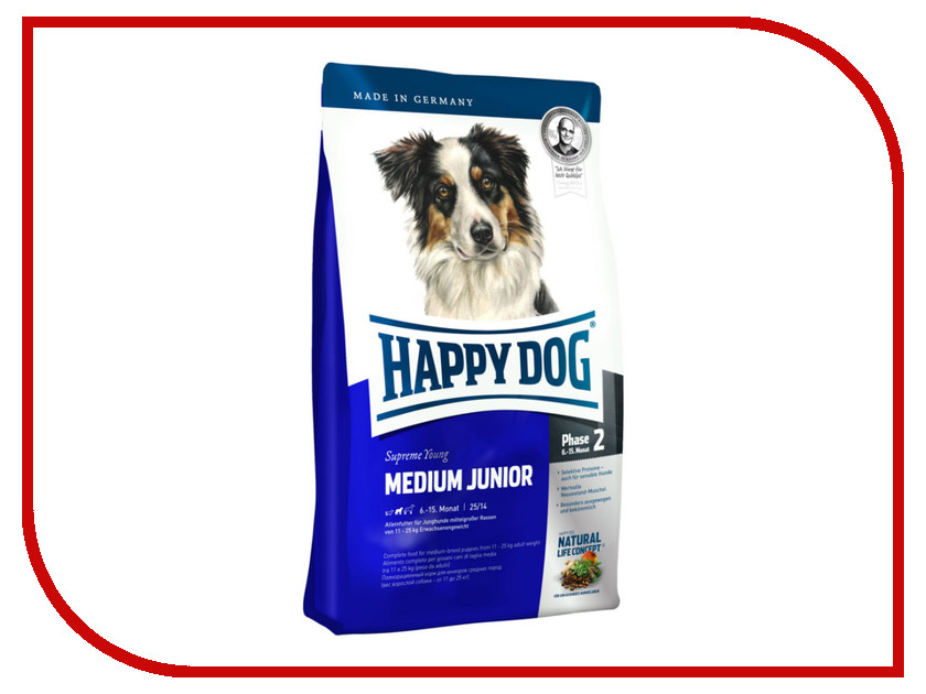 Корм Happy Dog Medium Junior - 1kg 03419 для щенков корм для щенков монже