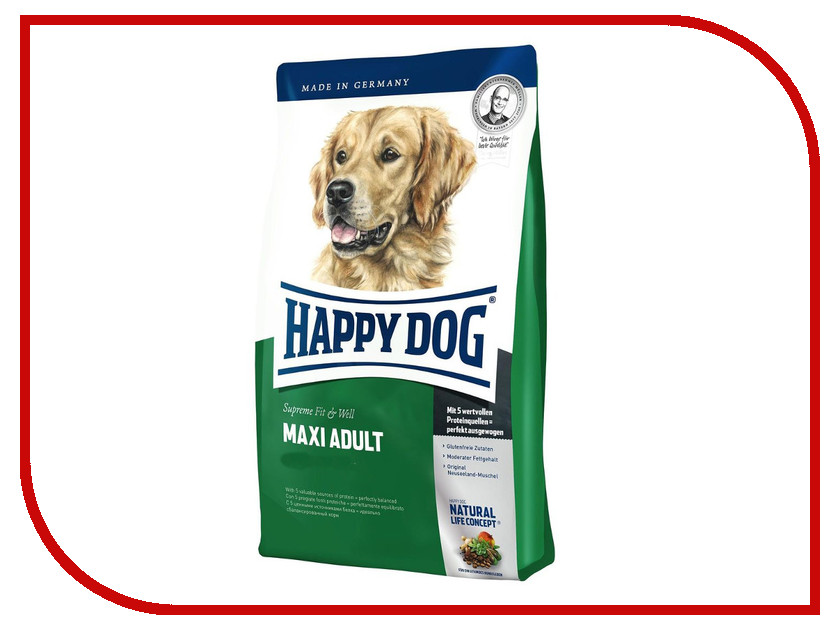 Корм Happy Dog Fit Well Maxi Adult - 1kg 60015 для собак корм happy dog vet diet struvit курица ягненок морепродукты 12 5kg для собак