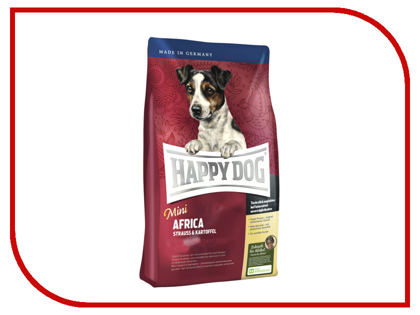 Корм Happy Dog Mini Africa - 0.3kg 60123 для собак корм happy dog vet diet struvit курица ягненок морепродукты 12 5kg для собак