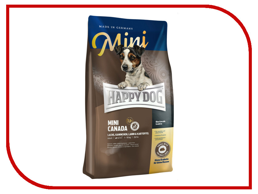 Корм Happy Dog Mini Canada - 1kg 60329 для собак корм happy dog vet diet struvit курица ягненок морепродукты 12 5kg для собак