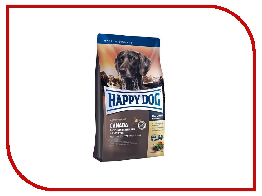 Корм Happy Dog Supreme Canada - 1kg 03559 для собак сухой корм happy dog supreme sensible adult 11kg neuseeland lamb