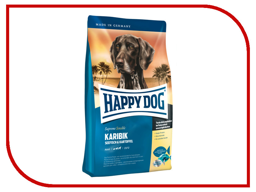 Корм Happy Dog Supreme Karibik - 4kg 03522 для собак корм happy dog vet diet struvit курица ягненок морепродукты 12 5kg для собак