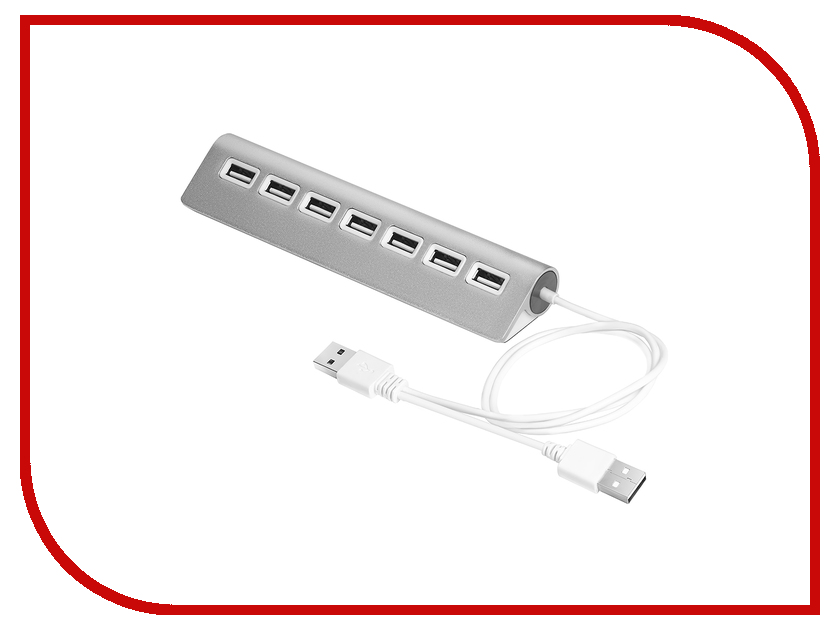 Хаб USB Greenconnect 7 ports 0.6m Silver GCR-UH227S огранка топаз лондон квадрат 4 4 мм