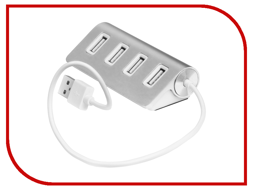 Хаб USB Greenconnect 4 ports 0.15m Silver GCR-UH224S