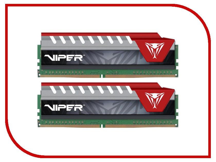Модуль памяти Patriot Memory Viper Elite DDR4 DIMM 2800MHz PC4-22400 CL16 - 16Gb KIT (2x8Gb) PVE416G280C6KRD Red модуль памяти patriot memory ddr4 dimm 3200mhz pc4 25600 cl16 16gb kit 2x8gb pvr416g320c6k
