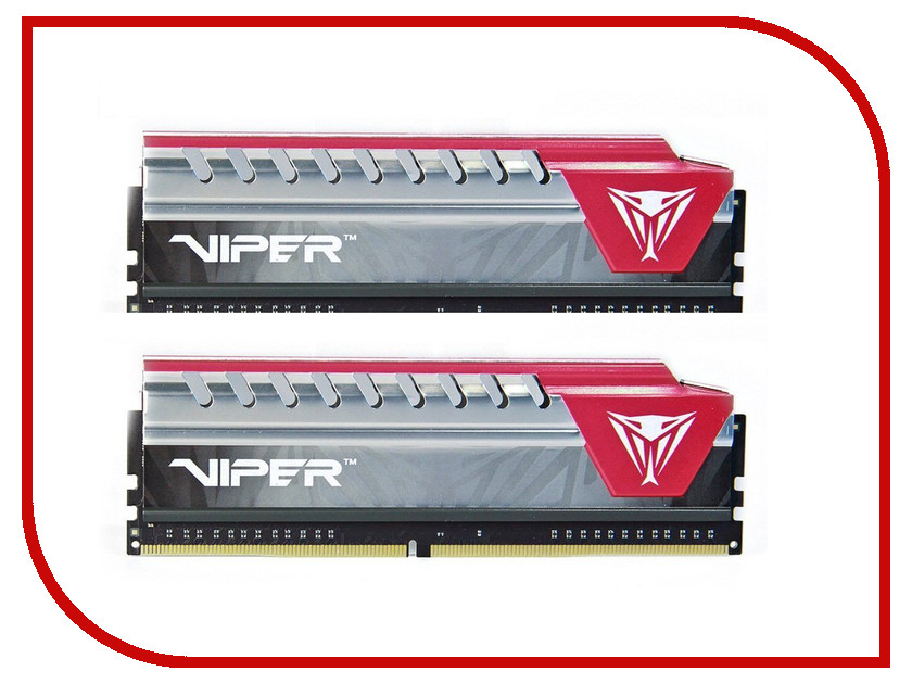 Модуль памяти Patriot Memory Viper Elite DDR4 DIMM 1600MHz PC4-19200 CL16 - 8Gb KIT (2x4Gb) PVE48G240C5KRD Red