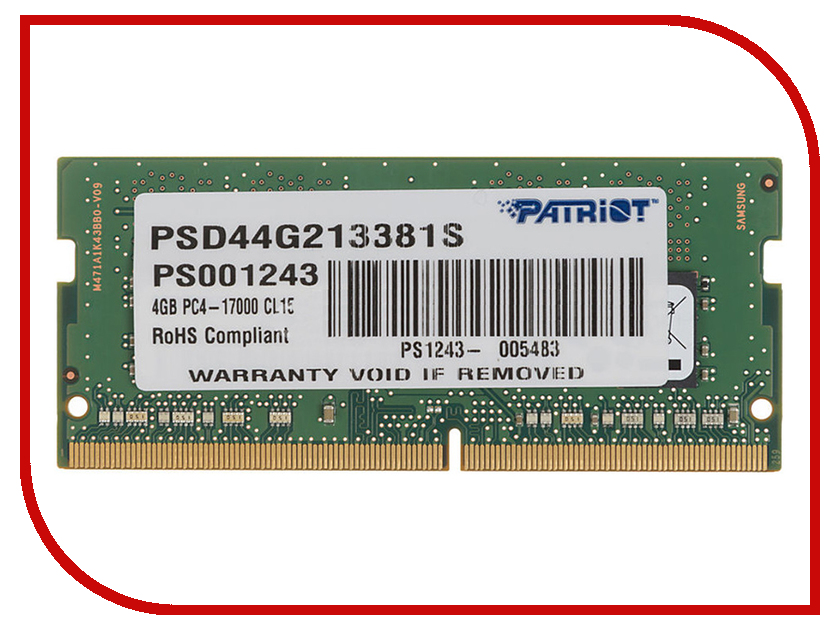 Модуль памяти Patriot Memory DDR4 SO-DIMM 2133MHz PC4-17000 CL15 Single Rank - 4Gb PSD44G213381S модуль памяти patriot memory ddr4 so dimm 2400mhz pc4 19200 cl17 4gb psd44g240041s