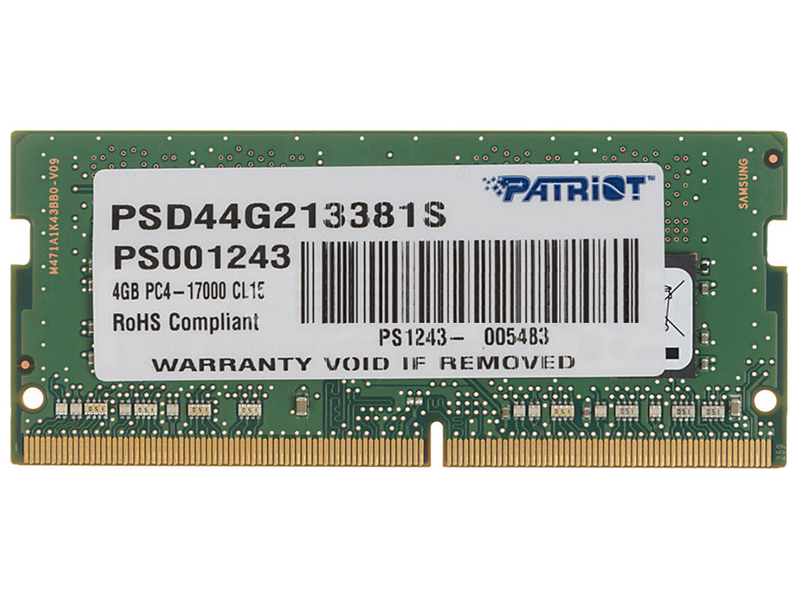 Модуль памяти Patriot Memory DDR4 SO-DIMM 2133MHz PC4-17000 CL15 Single Rank - 4Gb PSD44G213381S