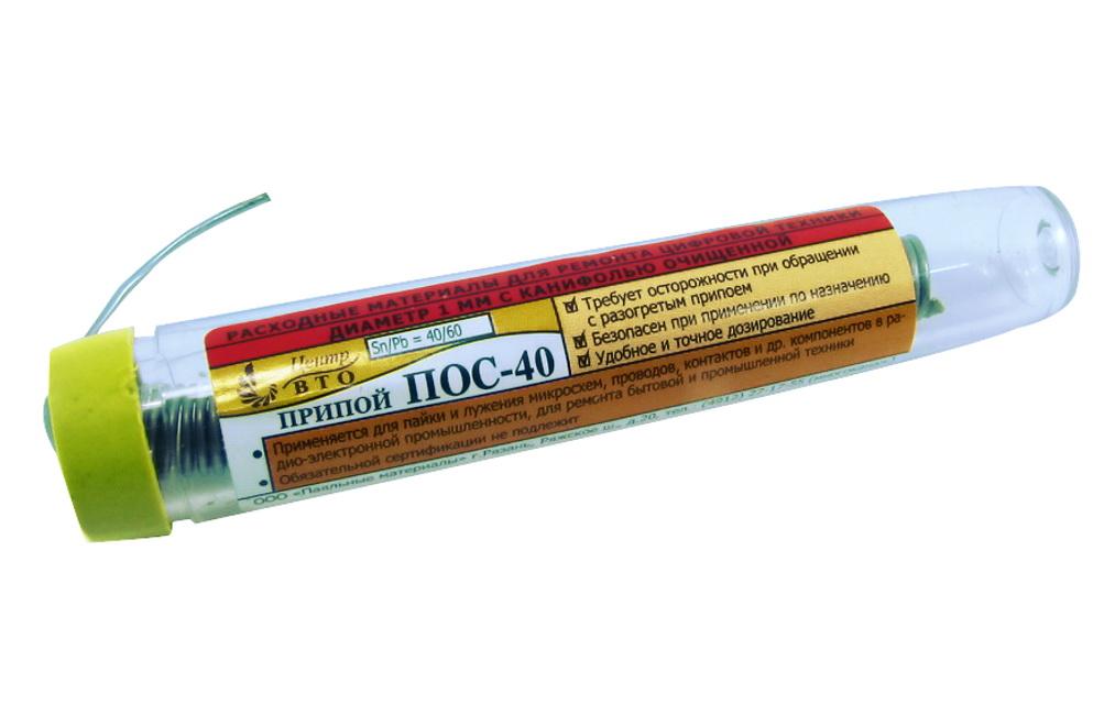 Припой-колба ПМ ПОС-40 1мм 18гр с канифолью А060450