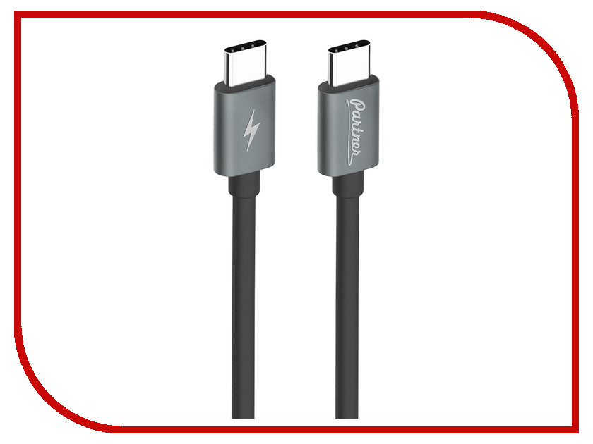 Аксессуар Partner USB Type-C - USB Type-C 1m Black ПР038386 аксессуар greenconnect type c usb 3 0 1m gcr uc3am 1m gc uc3am 1m