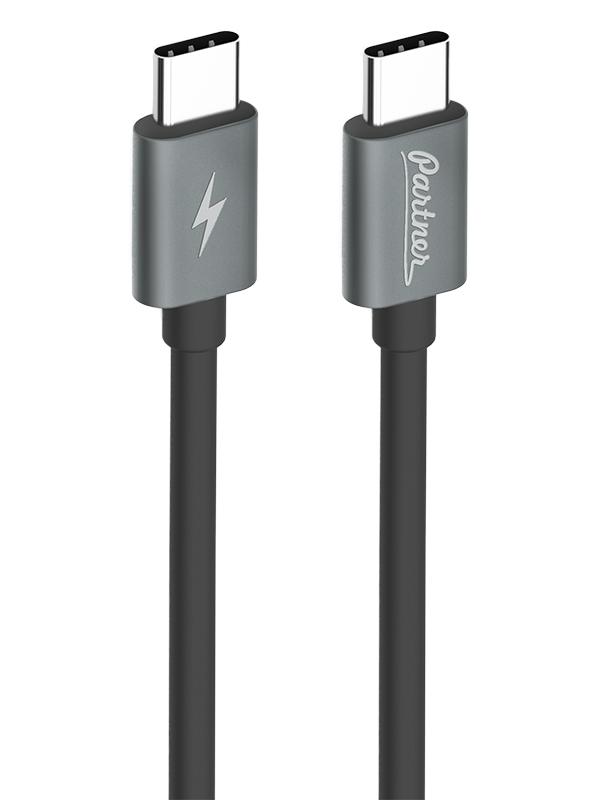 лучшая цена Аксессуар Partner USB Type-C - USB Type-C 1m Black 38386