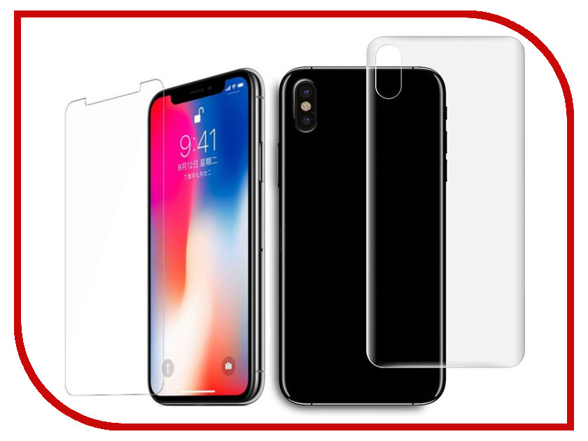 Аксессуар Защитная пленка Protect для APPLE iPhone X Front&Back глянцевая 31261 london pattern protective plastic back case w front screen protector for iphone 5 grey red