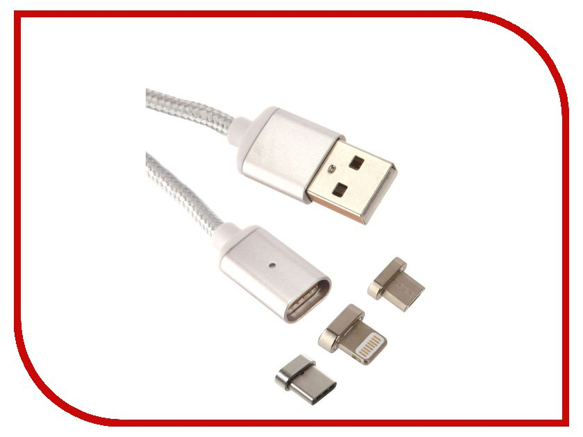 Аксессуар Red Line Magnetic USB - USB Type-C/Lightning 8 pin/microUSB Silver аксессуар x flash microusb lightning 30p xf cubb109 45655