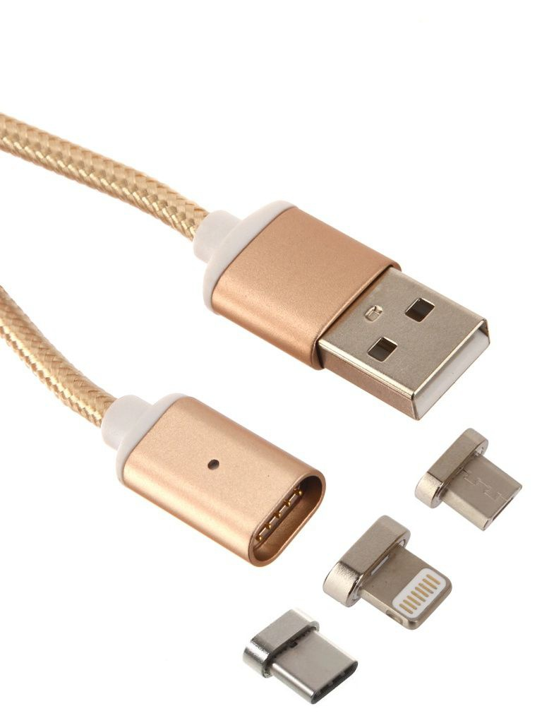 Аксессуар Red Line Magnetic USB - Type-C/Lightning 8 pin/microUSB Gold УТ000012862