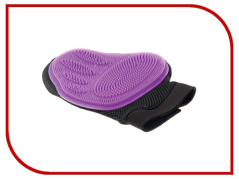 Расческа для животных V.I.Pet Рукавица силиконовая Violet 3009