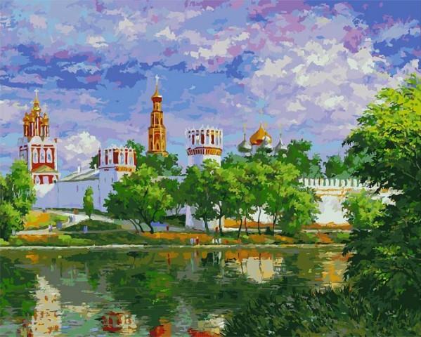 лучшая цена Картина по номерам Белоснежка Новодевичий монастырь 019-AB