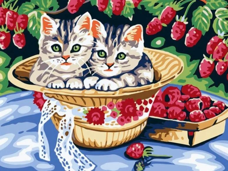 Картина по номерам Белоснежка Котята в саду 013-CE