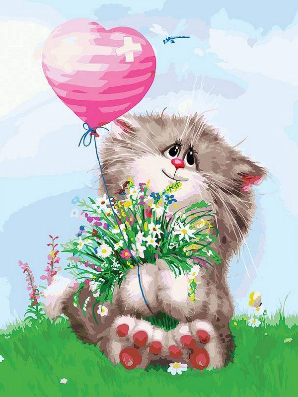 Картина по номерам Белоснежка Кот с букетом 3002-CS