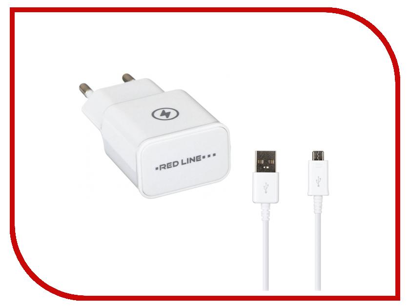 Зарядное устройство Red Line NT-2A 2xUSB 2.1A + кабель White зарядное устройство red line nt 2a 2xusb 2 1a кабель black