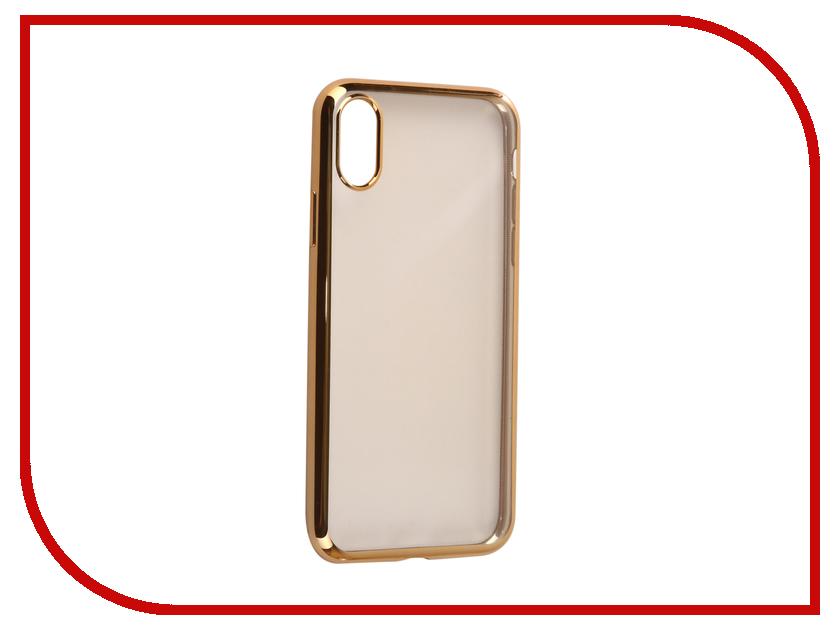 Аксессуар Чехол Svekla Flash Silicone для iPhone X Gold Frame SVF-APX-GOLD