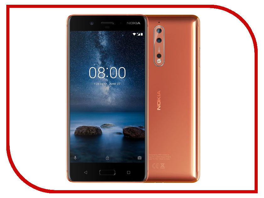 Фото Сотовый телефон Nokia 8 Dual Sim Copper сотовый телефон nokia 2 dual sim white