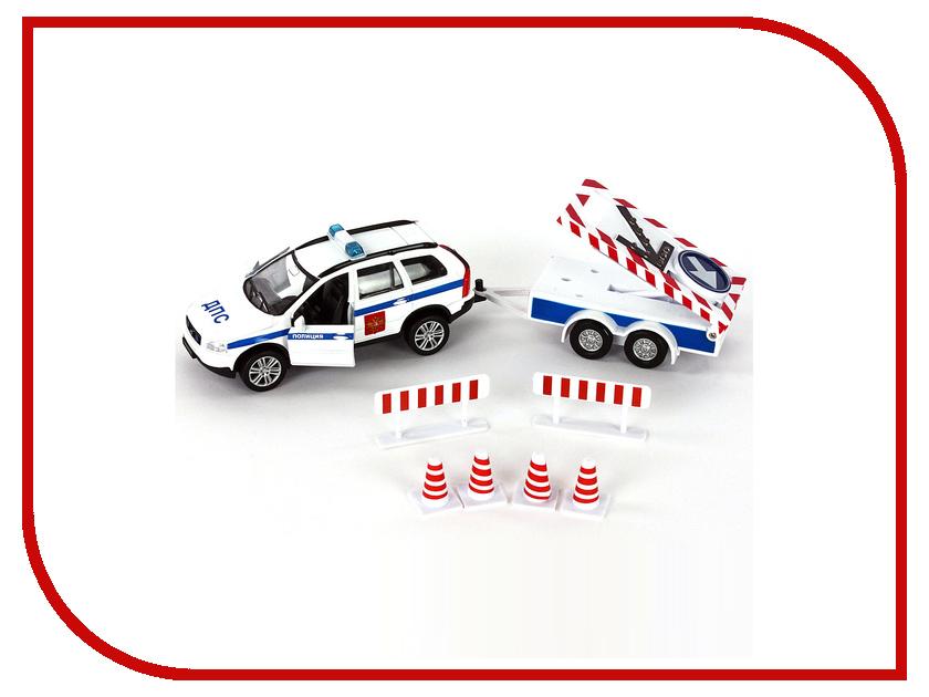 Игрушка Пламенный мотор ДПС с прицепом и дорожными знаками 870209 машина пламенный мотор volvo v70 пожарная охрана 870189