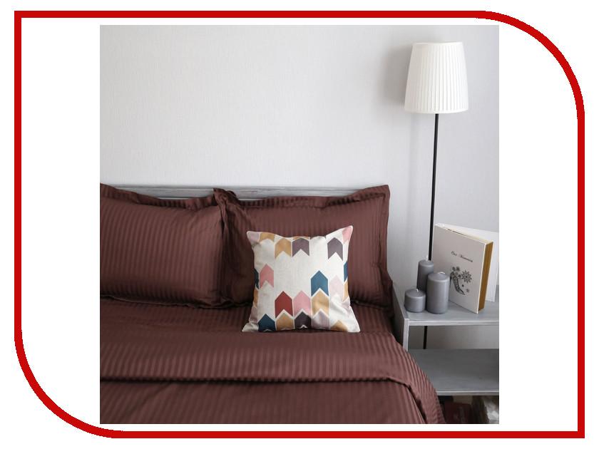 Постельное белье Этель Basic Комплект Евро Chocolate Страйп-Сатин 2332507