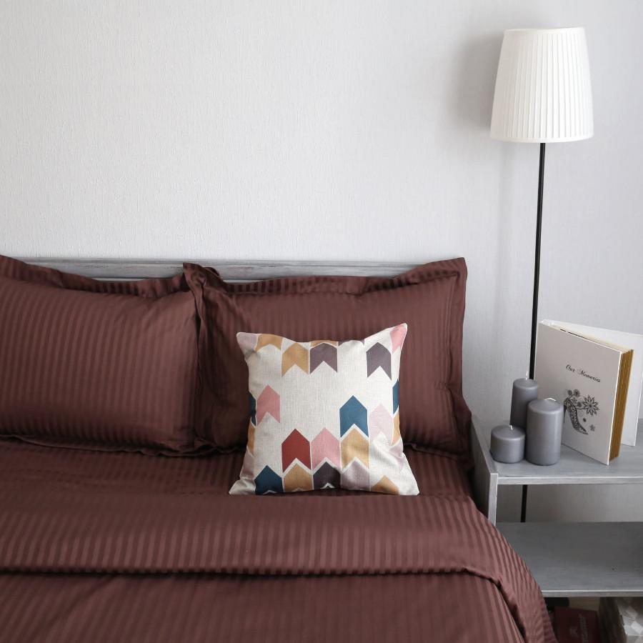 Постельное белье Этель Basic Комплект 1.5 спальный Chocolate Страйп-Сатин 2332505