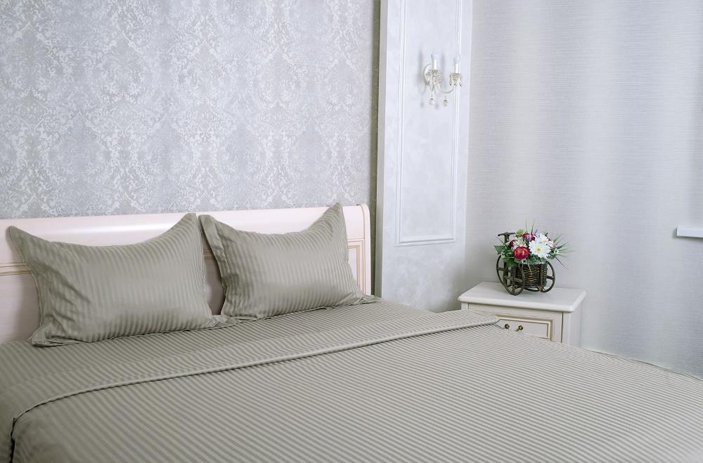 Постельное белье Этель Basic Комплект 1.5 спальный Stone Страйп-Сатин 1551459