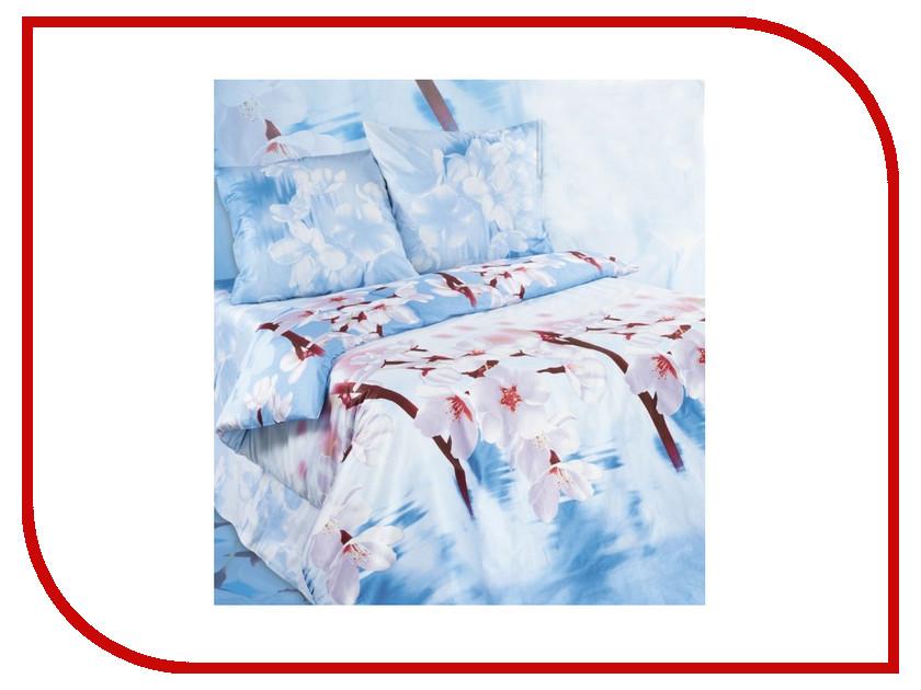 Постельное белье Экзотика Яблоневый цвет Комплект 2 спальный, простыня на резинке Поплин