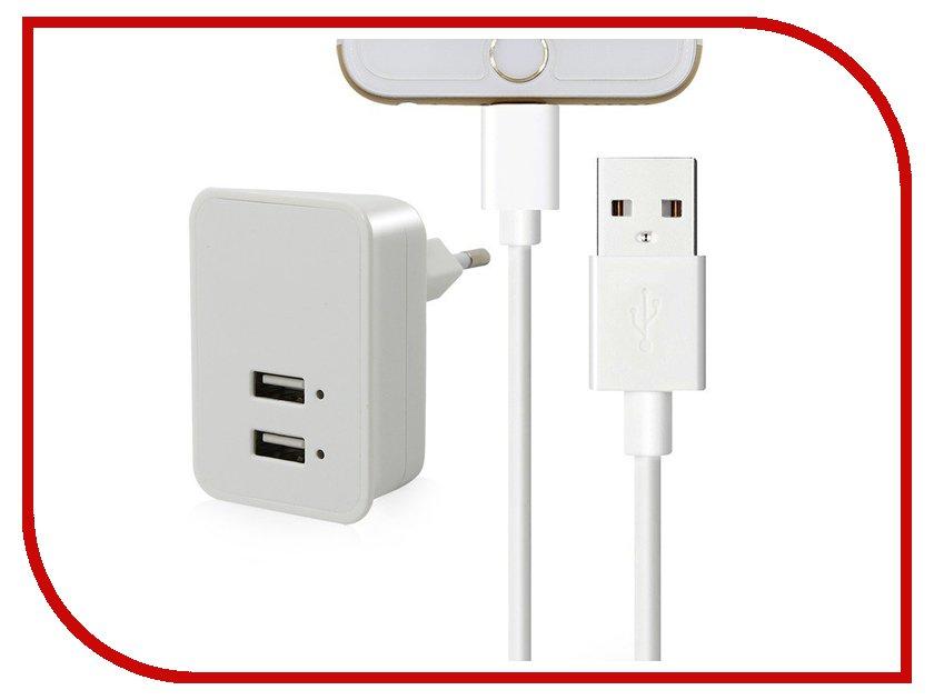 Зарядное устройство Budi M8J053E 2.1A + Lightning cable White 70583 зарядное устройство budi m8j056e 2xusb 2 4a lightning