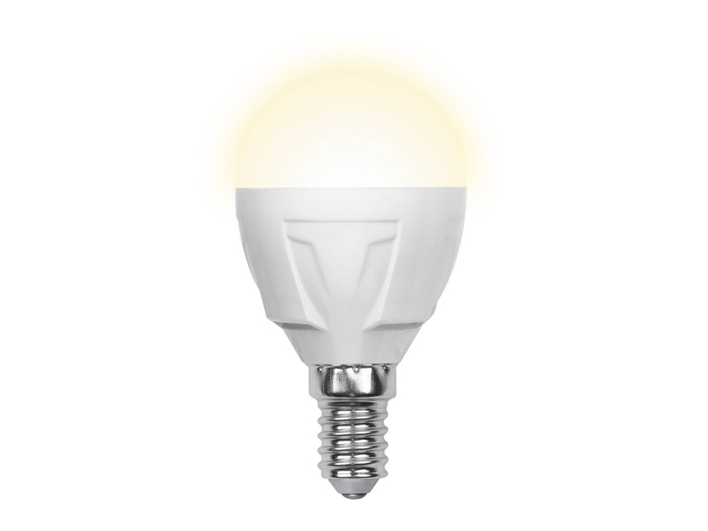 Лампочка Uniel LED G45 E14 7W 175-250V 3000K 600Lm Warm Light LED-G45-7W/WW/E14/FR PLP01WH