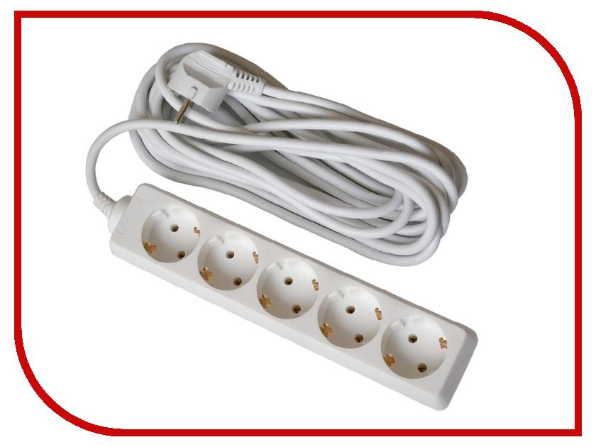 Удлинитель Uniel Стандарт 5 Sockets 10m S-GCD5-10 бытовой удлинитель с заземлением volsten s 3x1 5 z 9311