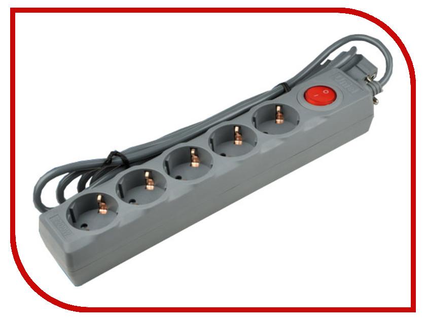 Сетевой фильтр Uniel Universal 5 Sockets 3m Grey S-GSU5-3