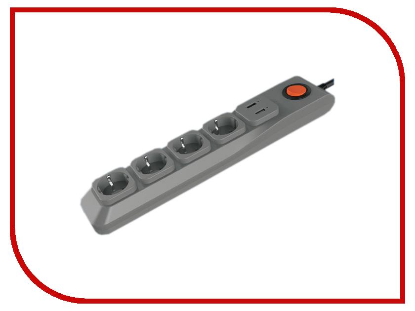 Сетевой фильтр Uniel Lux 4 Sockets 3m Grey S-GSL5-3U удлинитель uniel стандарт 4 sockets 3m s gce4 3b