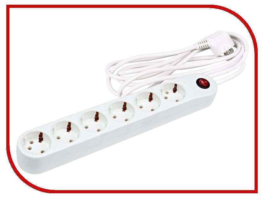 Сетевой фильтр Uniel Стандарт Classic 6 Sockets 3m White S-GSP6-3C сетевой фильтр daesung mc2533 3 sockets 3m
