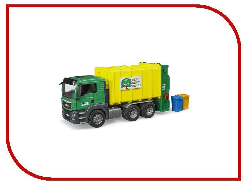Игрушка Bruder Man TGS Мусоровоз Green-Yellow 03-764 bruder bruder автокран с модулем со световыми и звуковыми эффектами man tgs